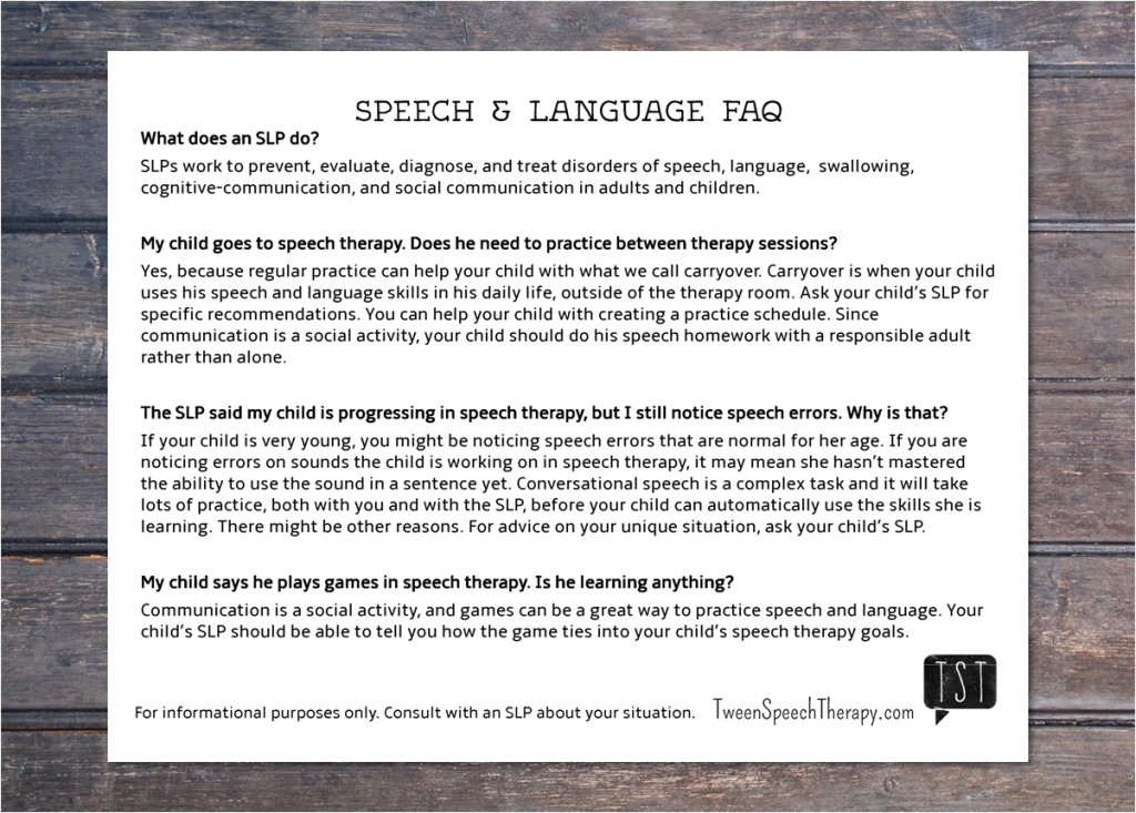 Speech Therapy Guide for Teachers and Parents from Tween Speech Therapy
