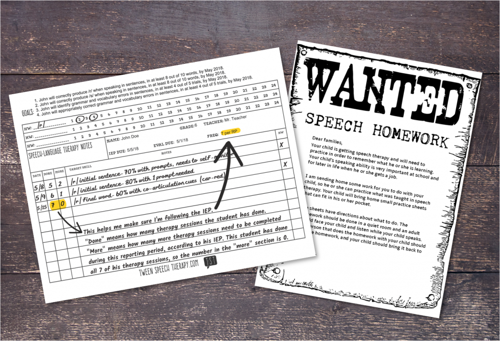 Speech therapy homework: data sheet and parent letter, by Tween Speech Therapy