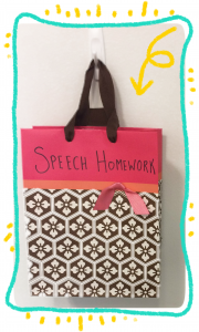 Speech Therapy Homework Bag