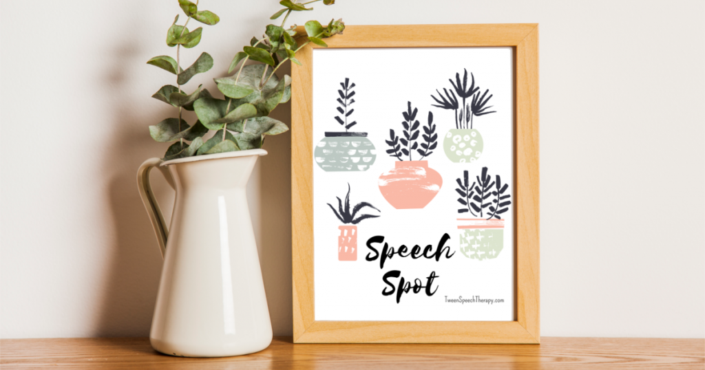 Speech Room Poster: Speech Spot by Tween Speech Therapy