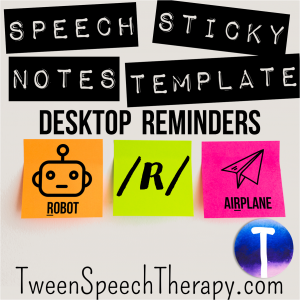 Articulation Sticky Notes by Tween Speech Therapy