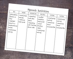 Speech activity planner by Tween Speech Therapy