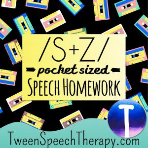 S and Z Pocket Sized Speech Homework
