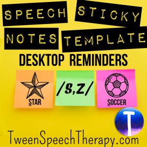 S + Z Speech Sticky Note Template