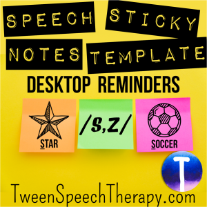 S + Z Speech Sticky Note Template