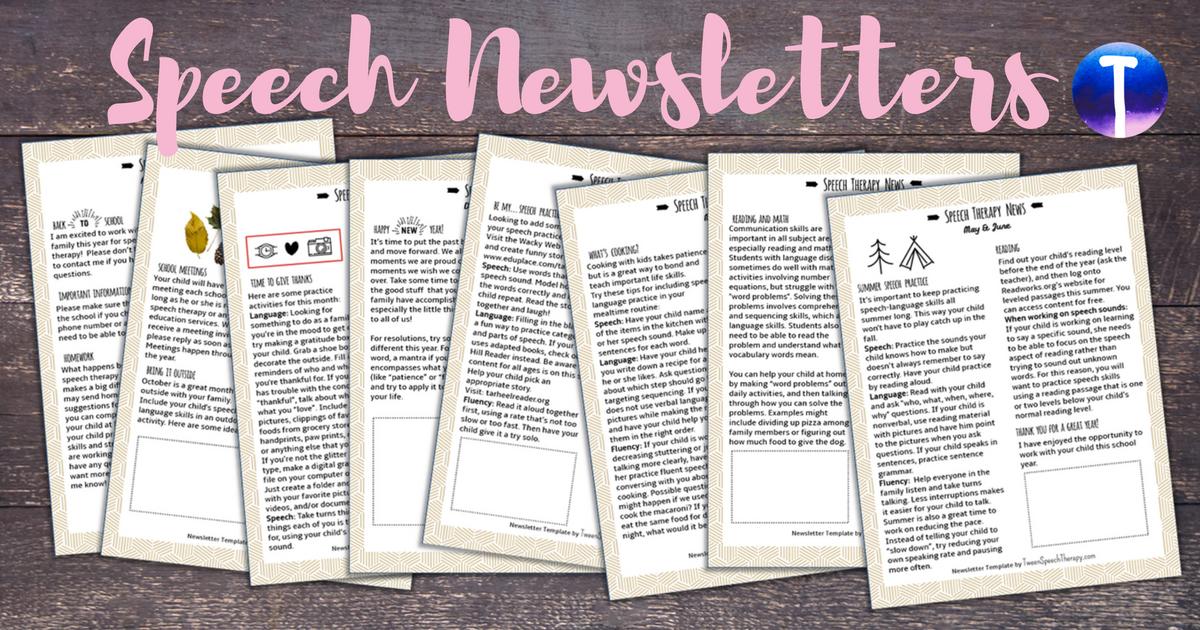 Parent Newsletters for SLPs - Tween Speech Therapy
