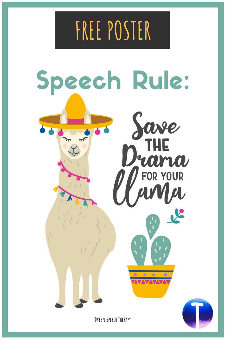 "Speech Room Decor Poster ""Save the Drama"" (Free)"