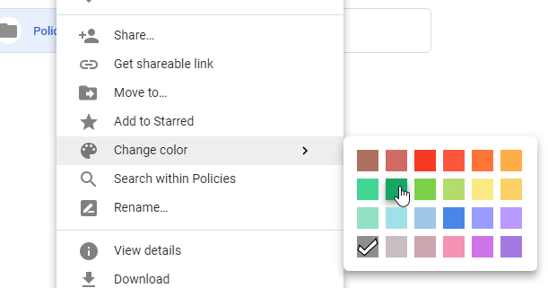 google drive change color
