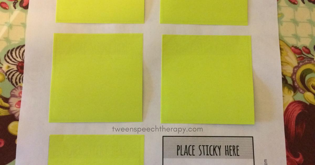 speech therapy print sticky notes
