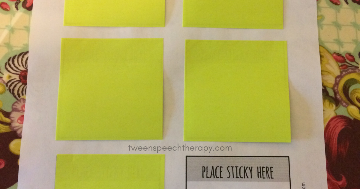 speech therapy print sticky notes