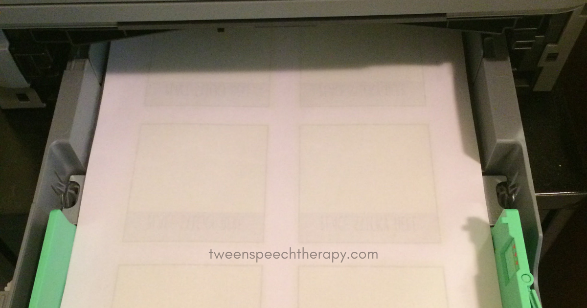 printing speech therapy sticky notes